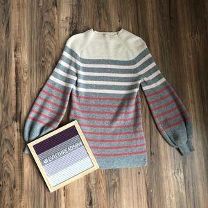 Loft pink & grey striped mock neck sweater (S)